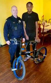 2nd District's Officer Bartlebaugh recently handled a stolen bike report for John Senga, a young refugee from the Congo. John's sole means of transportation to school was his bike. Officer Bartlebaugh was so impressed with John that he reached out to Cleveland Cops for Kids who donated a bike to John. Thank you Officer Bartlebaugh for looking out for our children!