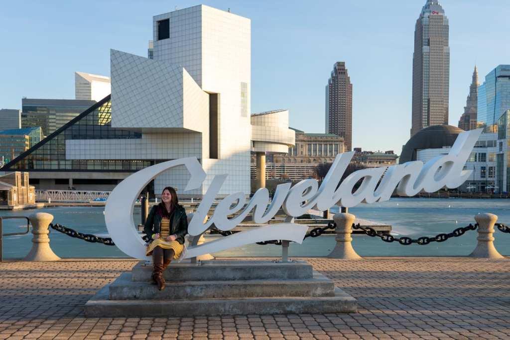 Cleveland script sign at North Coast Harbor