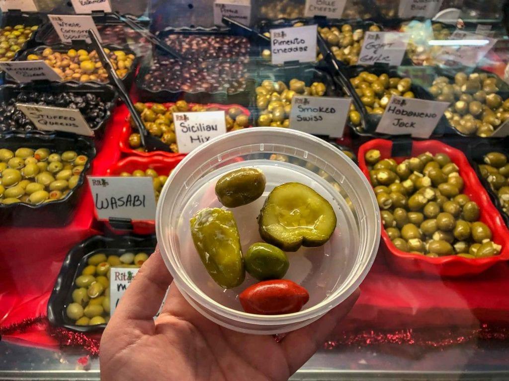 Olives and pickles at West Side Market
