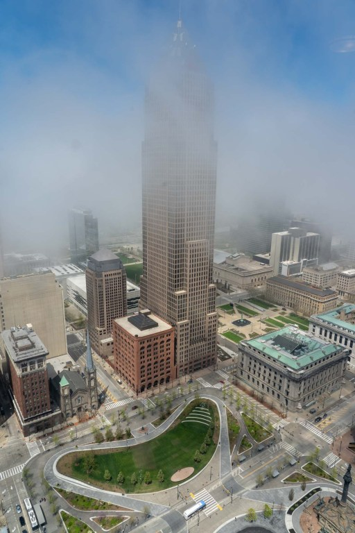 Fog rolling in over Cleveland