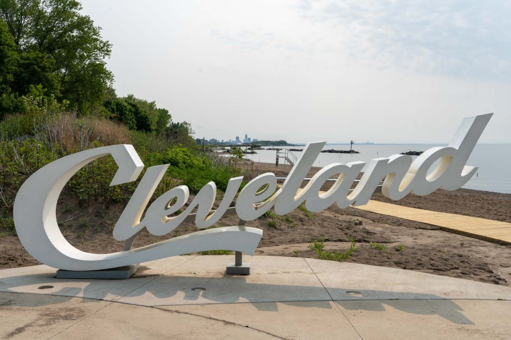 Cleveland script sign at Euclid Beach Park