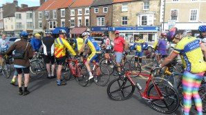 Waiting to set off and yes Shaun Joughin did wear those tights for the entire ride!
