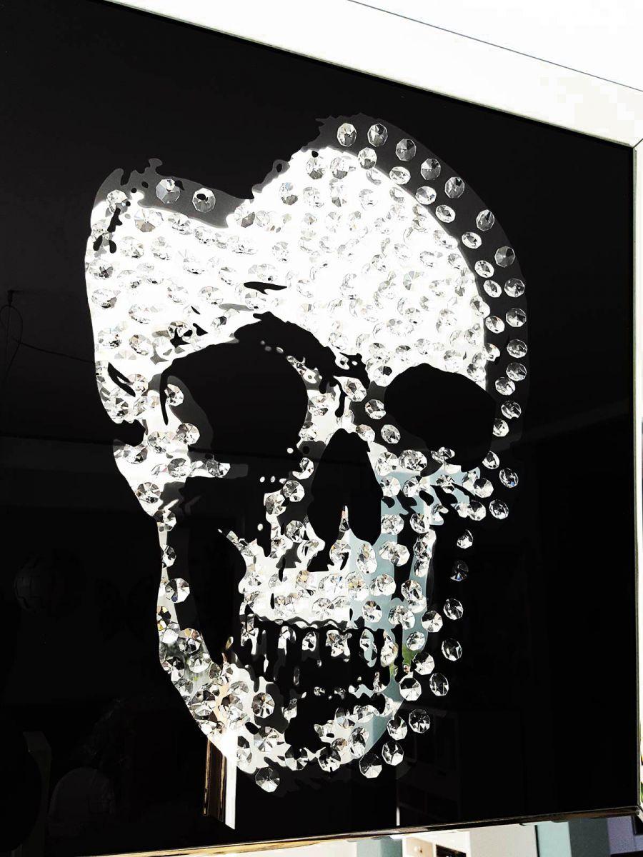 Glasbild Kristall Skull 60x 60cm Totenkopf Bild Spiegel Design Wandbild Deko NEU  eBay