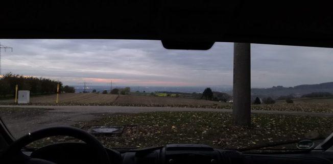 Schliengen, Aussicht aus dem Wohnmobil beim Weingut Zimmermann