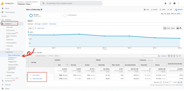 Google Analytics for beginners new vs returning report