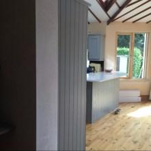 Extended Kitchen, sprayed grey with white quartz worktop