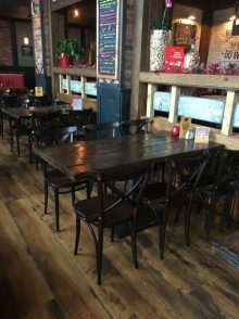 This is a picture of a custom made rustic bar tables