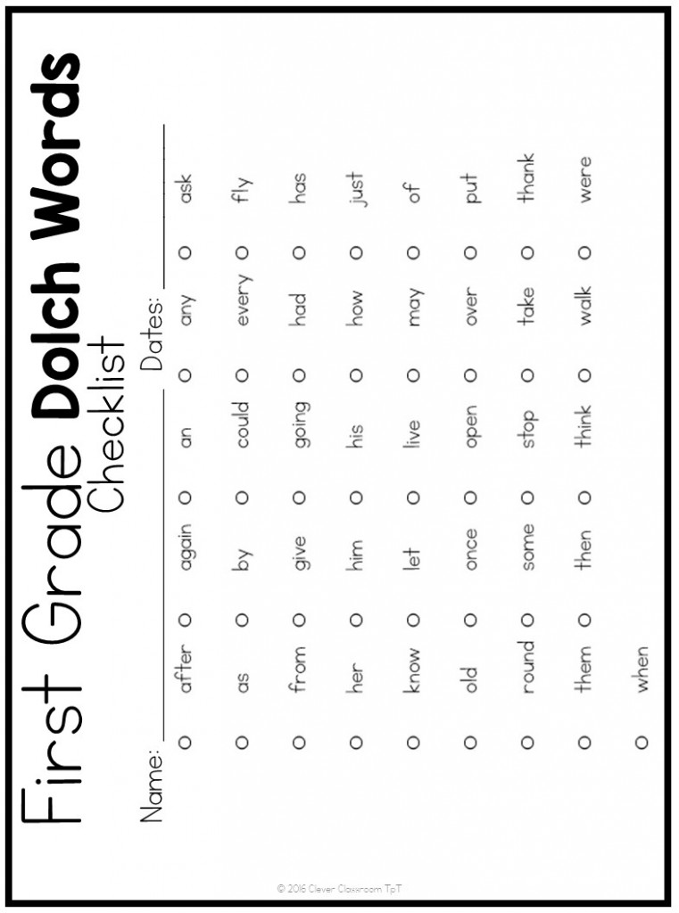 1st Grade Sight Word List Printable Pictures to Pin on