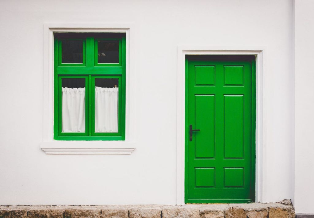 Green window and door