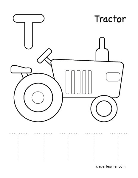 Letter T writing and coloring sheet