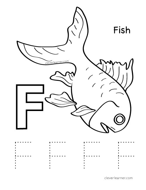 Letter F writing and coloring sheet