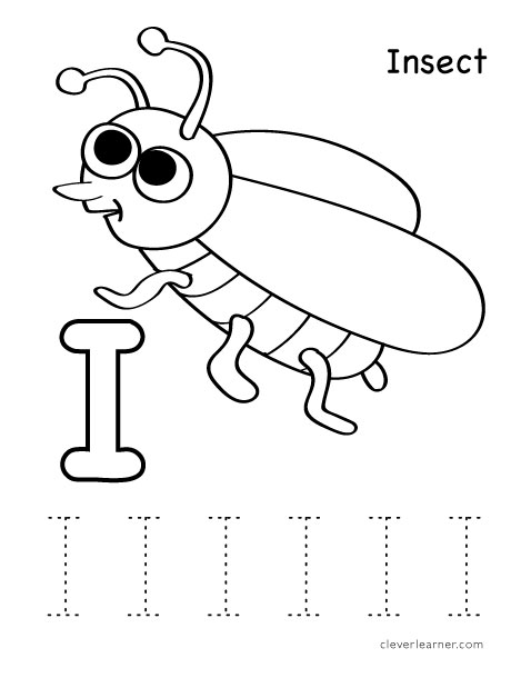 Letter I writing and coloring sheet