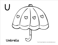 Letter U writing and coloring sheet