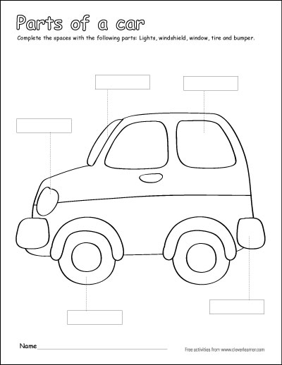 Label and color the parts of a car