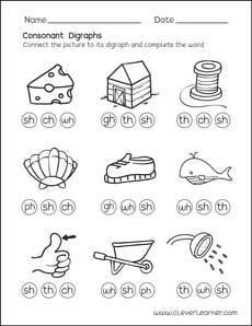 Free consonant digraph worksheets for preschool children
