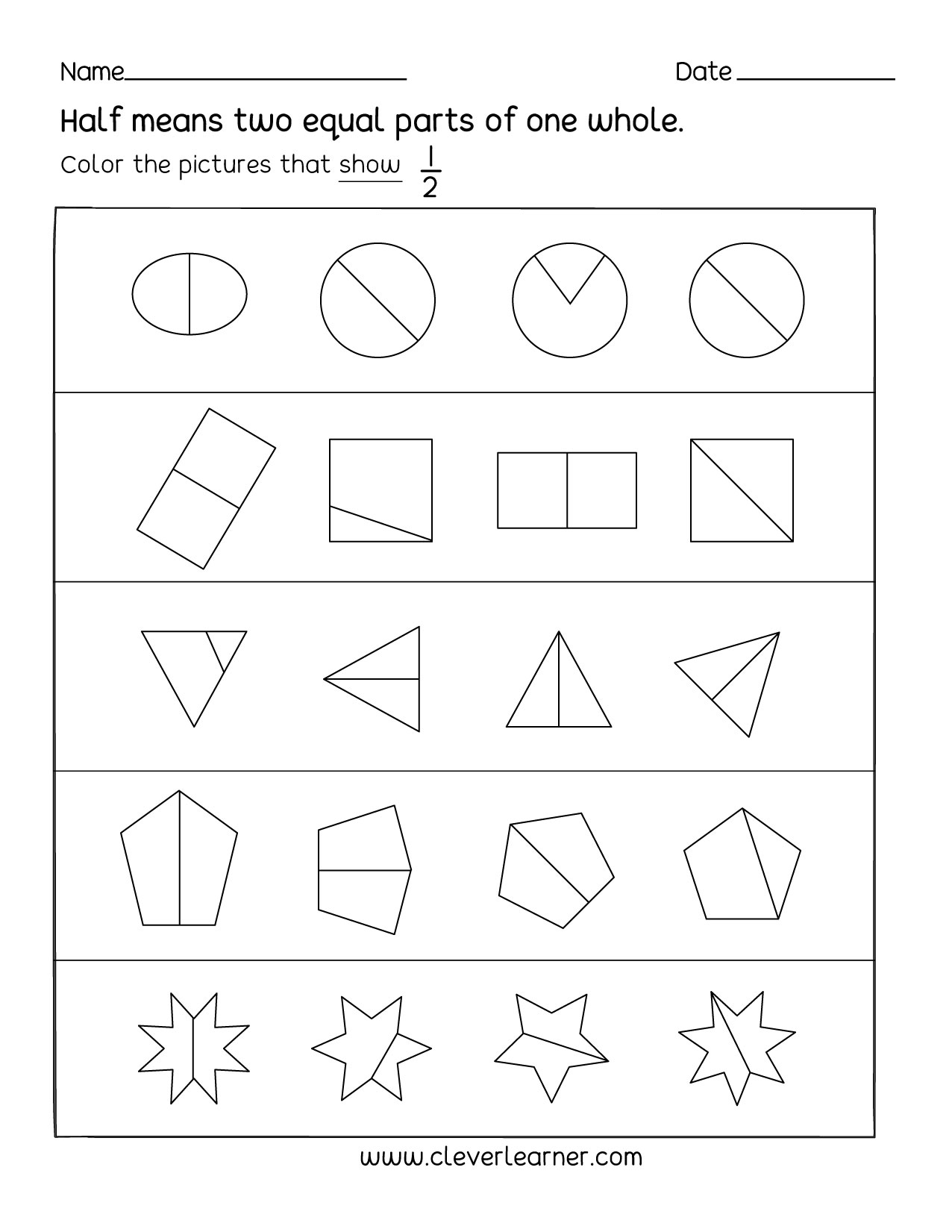 1 2 Fraction Worksheet