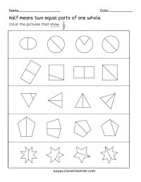 Fun activity on fractions, Half (1/2) worksheets for children