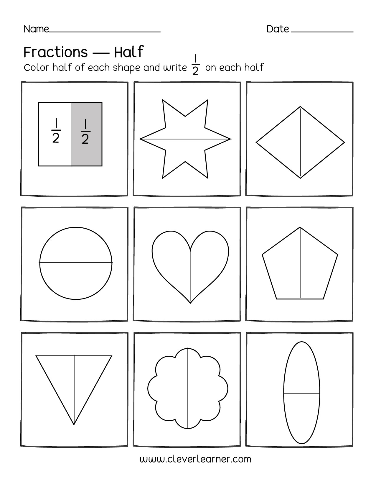 Half Of Shapes Worksheet