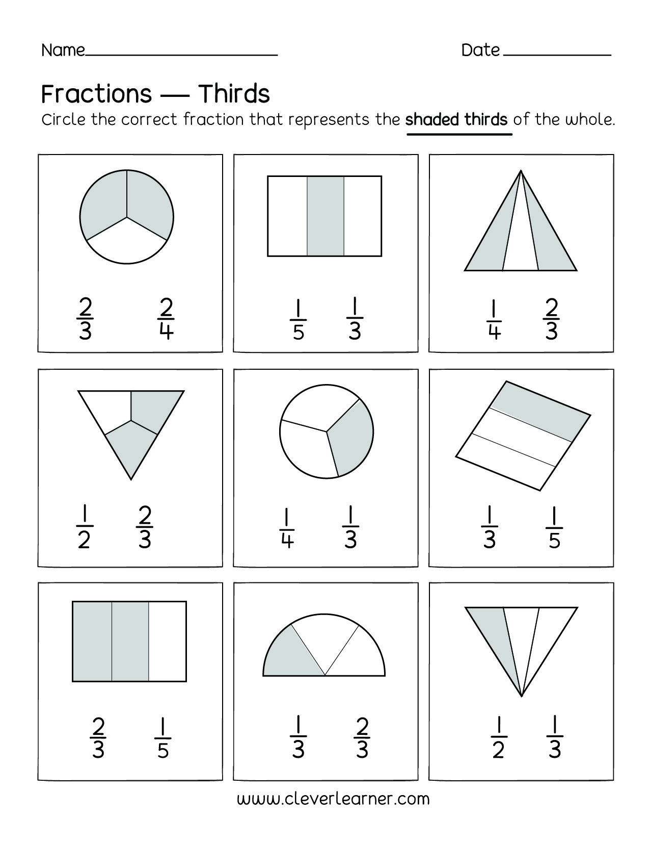 Kindergarten Worksheet Fractions