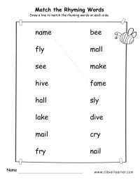 Rhyme words matching worksheets for kindergarten and ...