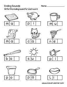 Ending sounds worksheets for preschool and kindergarten kids