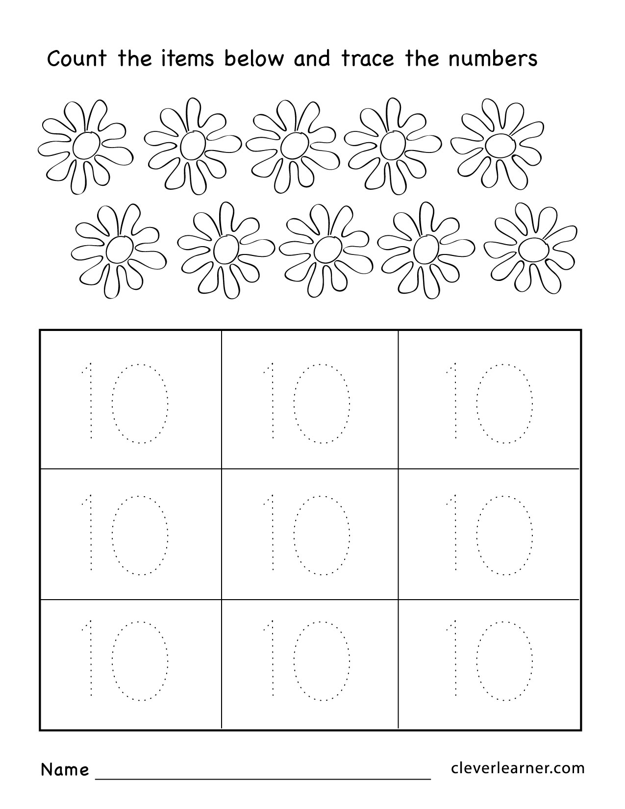Number 10 Worksheets For Preschool Pritables Number Best Free Printable Worksheets