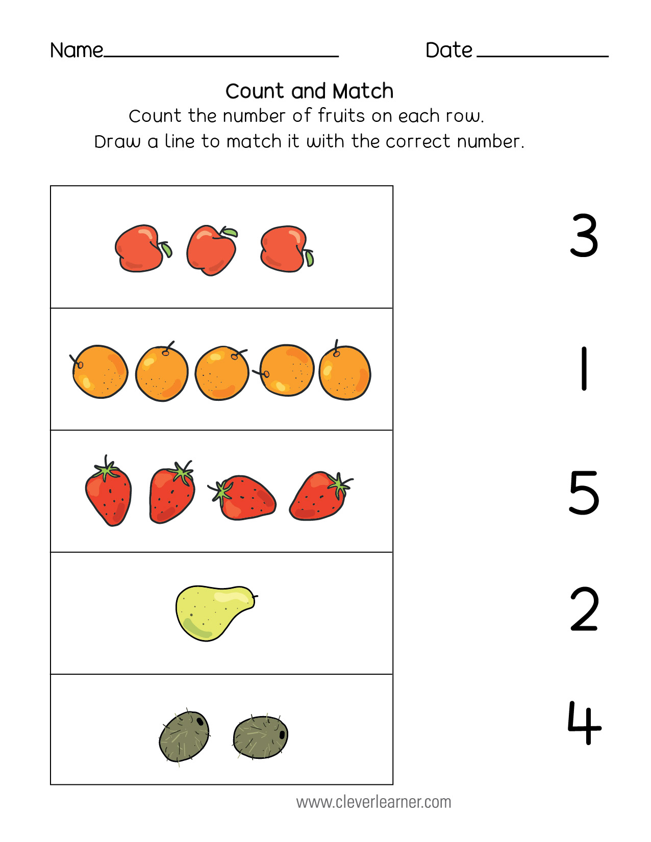 Fall Color Count Worksheet