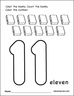 Number eleven writing, counting and identification