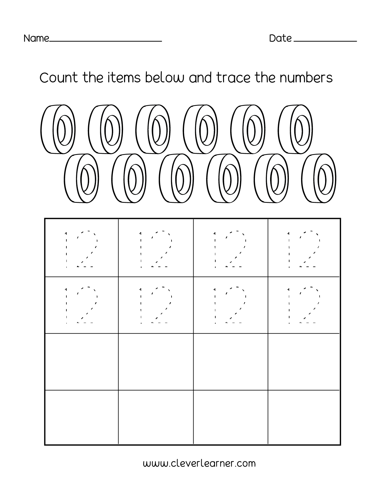 Number Twelve Writing Counting And Identification Printable Worksheets For Children