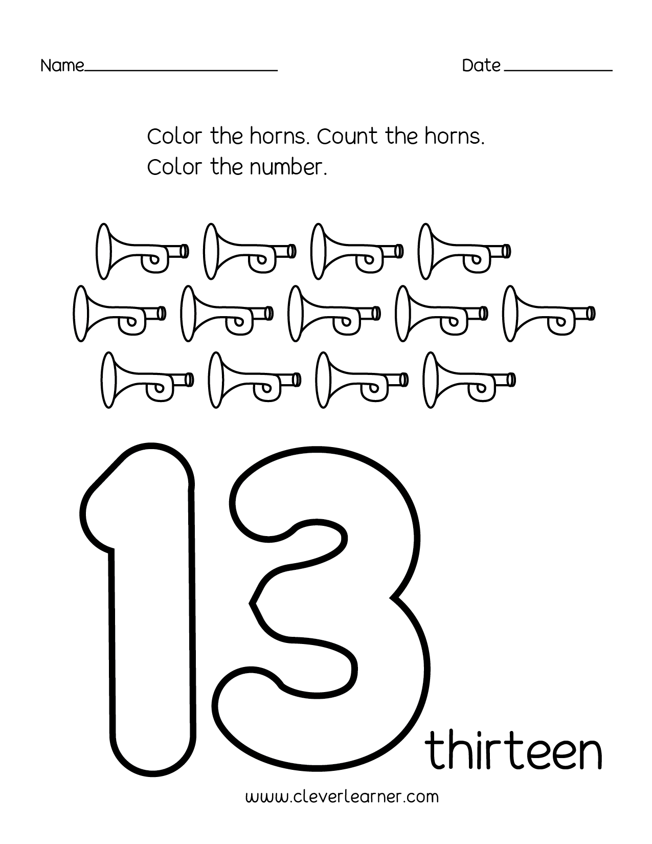 Number 13 Writing Counting And Identification Printable Worksheets For Children