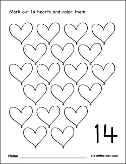Number 14 writing, counting and identification printable