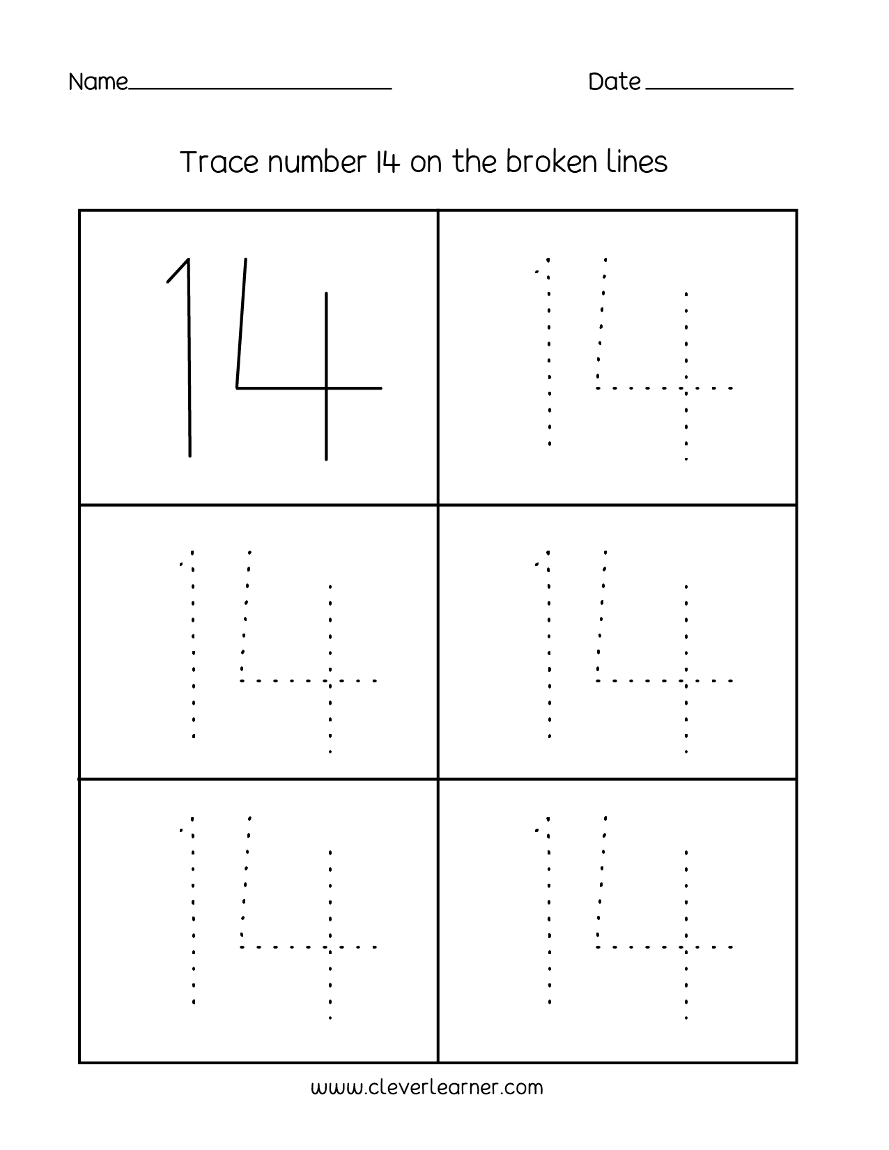 Number 14 Writing Counting And Identification Printable Worksheets For Children