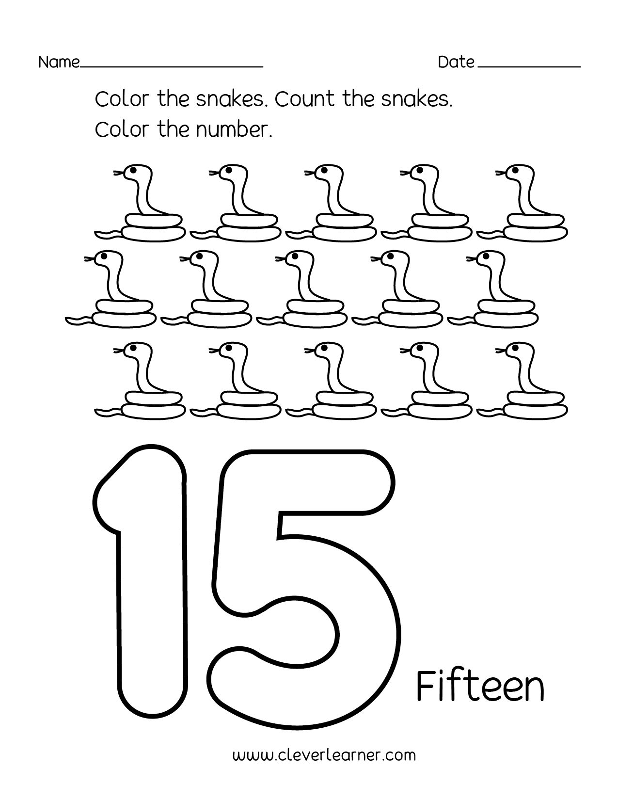 Number Recognition Worksheet 1 15