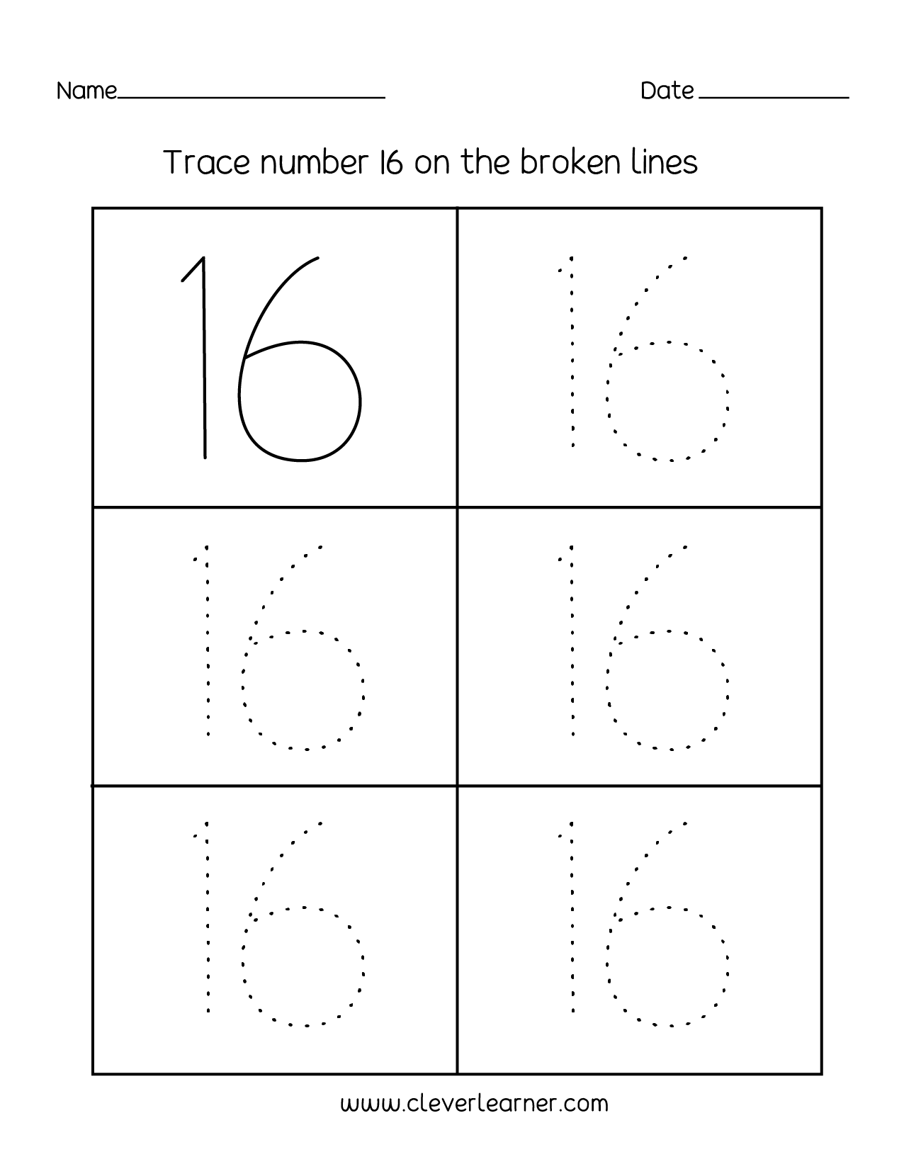 Number 16 Writing Counting And Identification Printable Worksheets For Children