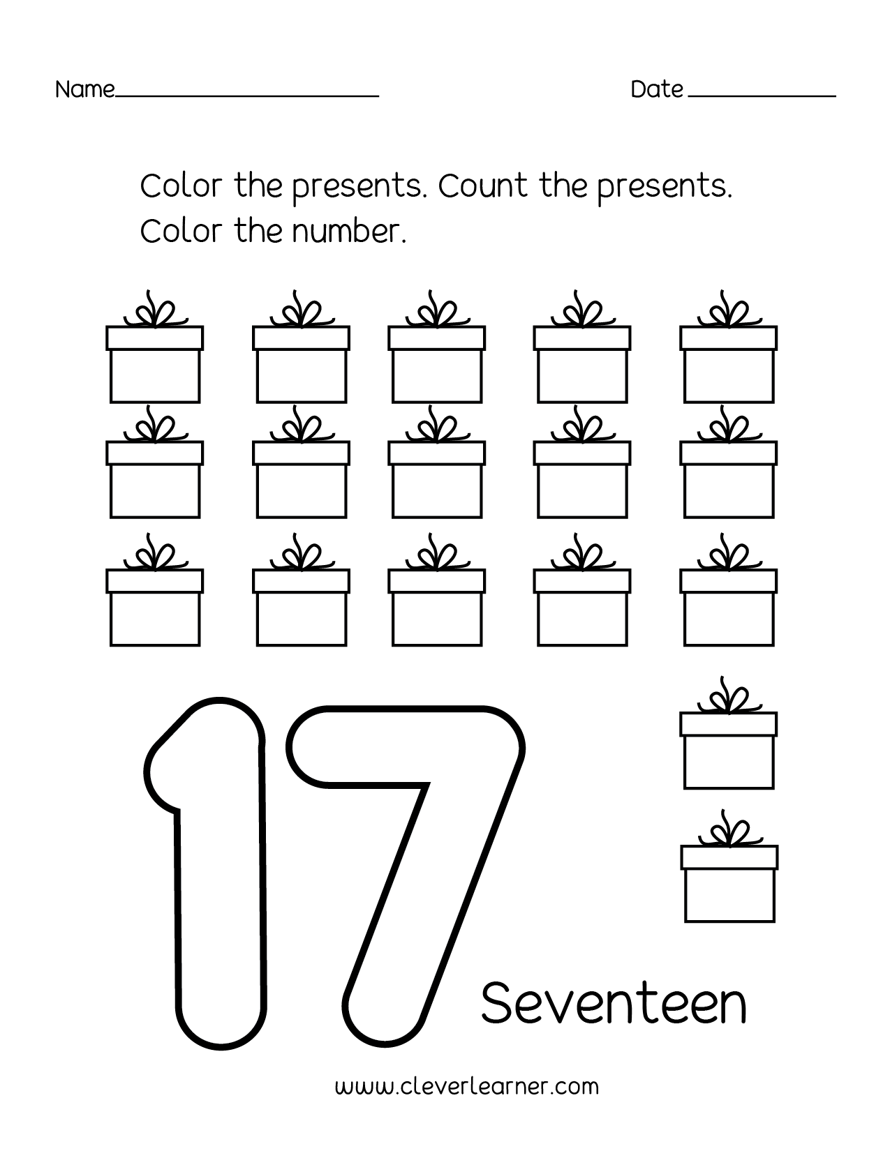 Number 17 Writing Counting And Identification Printable