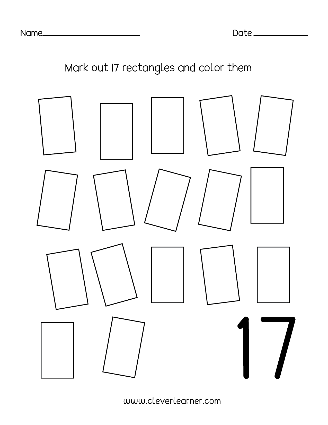 Worksheet About Number 17