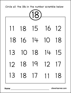 Number 18 writing, counting and identification printable