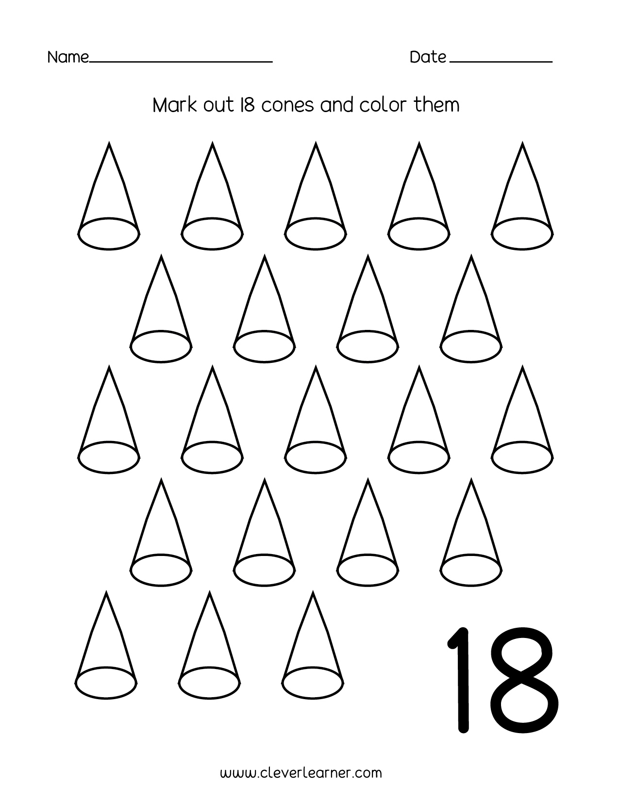 Leaf Numbers Preschool Worksheet