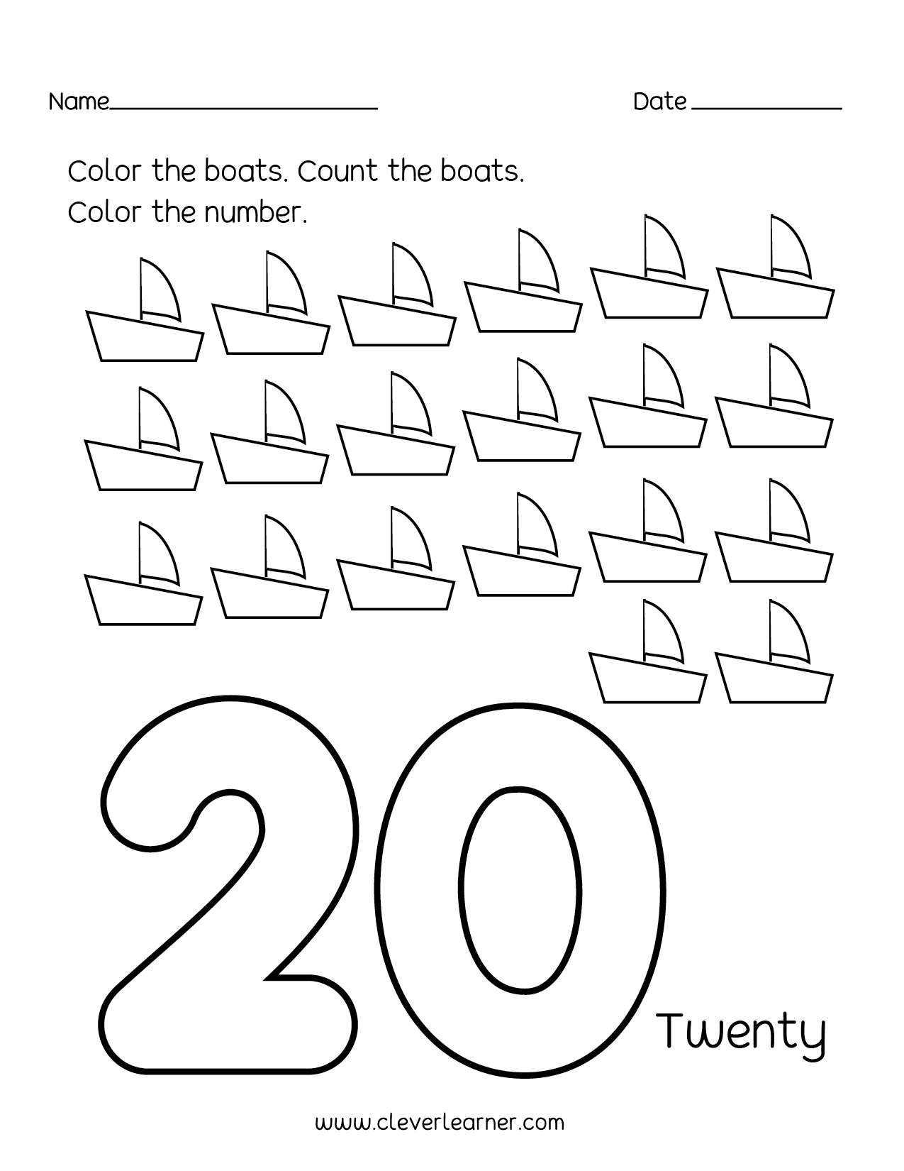 Preschool Number Worksheet 1 Through 20