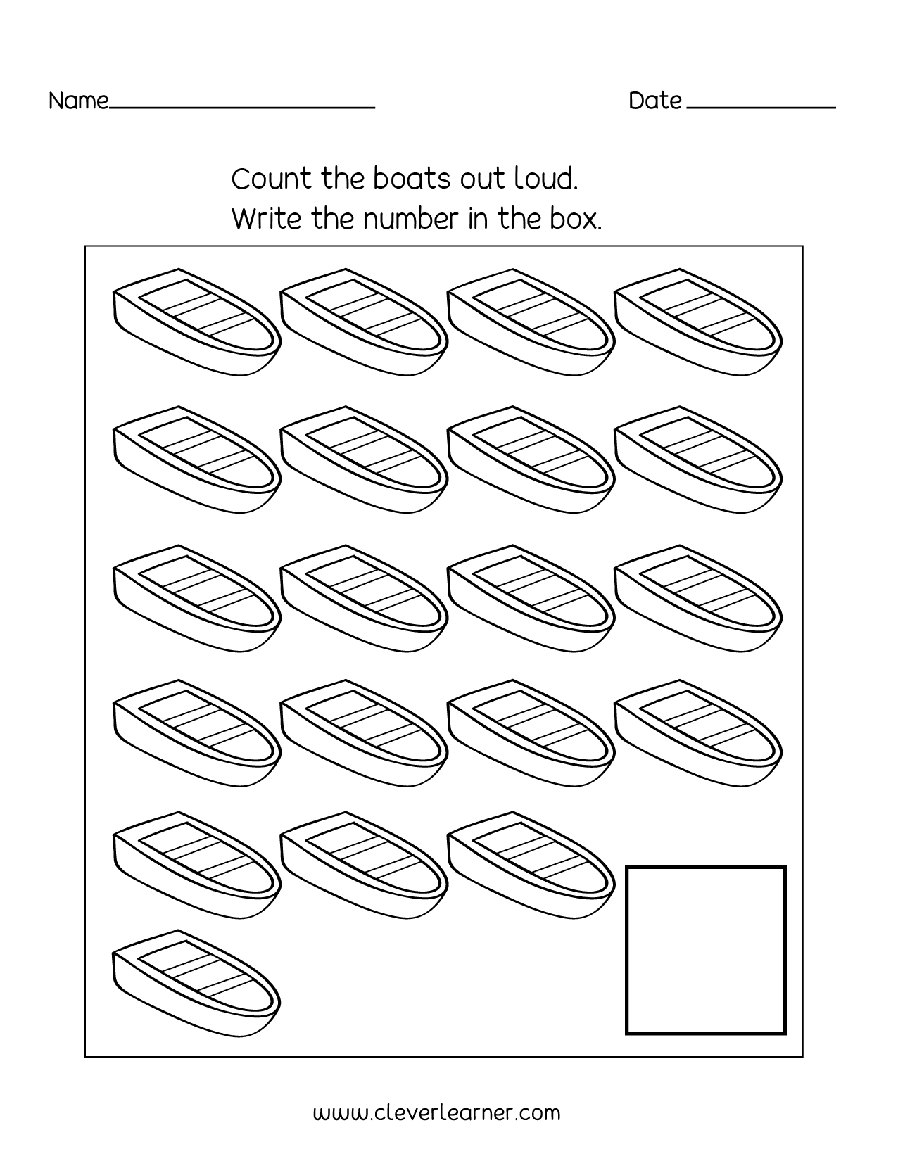 Number 20 Writing Counting And Identification Printable Worksheets For Children