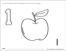 Number One writing, counting and recognition printable