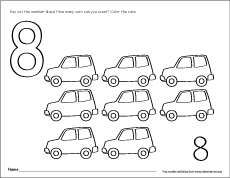 Number eight writing, counting and recognition activities