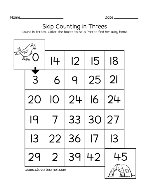 small resolution of Skipping numbers activities and worksheets for kindergarten and first grade