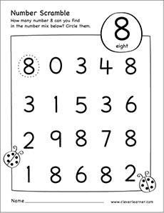Number scramble activity worksheet for number 8 for