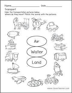 Transportation forms worksheets for preschools