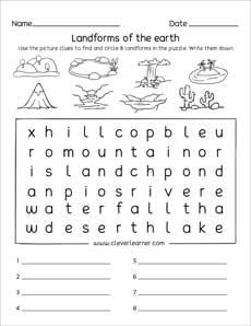 Landforms Printables And Worksheets For Kindergarten And