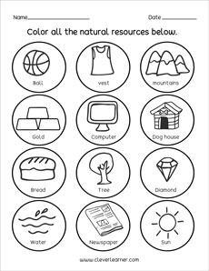 Natural Resources and Man-made things worksheets for