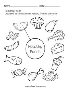 Preschool science worksheets on Healthy Foods