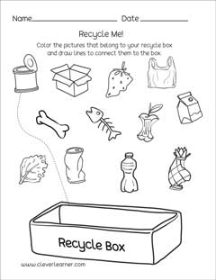 Preschool science worksheets on Waste Management, great