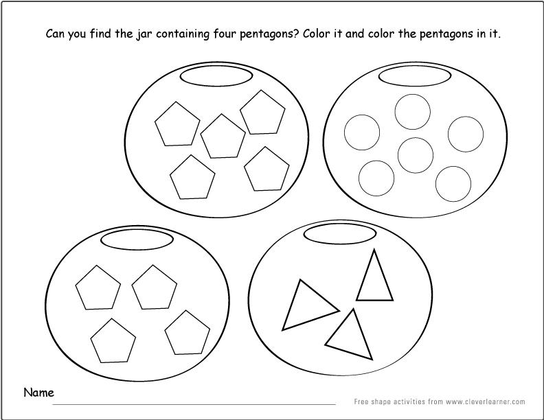 Pentagon shape activity sheets for school children